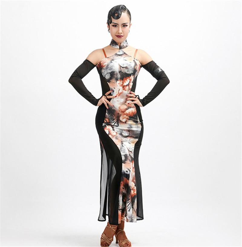 Cheongsam Latin Dance Dress Adult print Rumba exactly Sasa Samba ballroom performance service suit competition suit can be customized