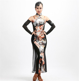 latin suits NZ - Cheongsam Latin Dance Dress Adult print Rumba exactly Sasa Samba ballroom performance service suit competition suit can be customized