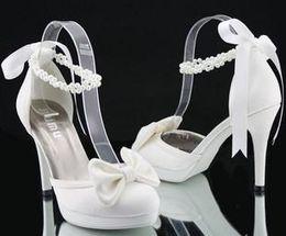 Wholesale Diamond Heels Bow - 2017 new style factory price wholesale europer size 30-43 lace diamond bow white high heel wedding dress ladies shoes