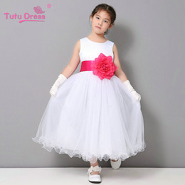Wholesale White Dress Fluffy Tutu - Flower Girl Dresses Summer Tulle Tutu Dress Wedding Easter Junior Bridesmaid White Curl Dress Fluffy Princess Girl Dress