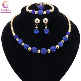 Wholesale Gold Ring Earing Set - Top Exquisite Dubai Crystal Necklace With Micro Pave CZ Disco Ball Beaded Jewelry Set Bangle Earing Ring