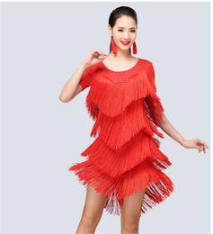 Wholesale Latin Rumba Dresses - 5Color 2017New Latin Dance Dress diamond tassel adult Sasa costume ballroom Tango Rumba Samba competition clothing Latin acrobatics clothing