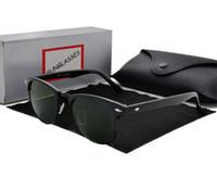 lente unisex al por mayor-Diseñador de la marca Moda Mujer Hombre Gafas de sol Unisex Semi-sin montura Gafas de sol Sombra lentes Lente 6 Color Con estuche y estuche al por menor