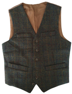 Wholesale 2017 British Style Dark Green Plaid Woolen cloth of Wool Groom Vests Slim Fit Single breasted Men s Suit Vest Vintage Jacket Waistcoat