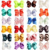 Wholesale Double Bow Clips - 120 Pcs lot 5 Inch Double Stack Hair Bow with Clip For Girl Handmade Boutique Grosgrain Ribbon Bows