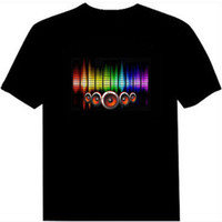 xs rock t shirt toptan satış-Ses Aktif Led Pamuk T Gömlek Light Up ve Aşağı Yanıp Ekolayzer EL T-Shirt Erkekler için Kaya Disko Parti DJ Üst Tee