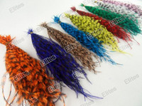 ingrosso perline di estensione dei capelli della piuma-Queen Grizzly Real Hair Feather Extension (Good come Extension Gallo) 100 Feathers + 100 beads Spedizione gratuita