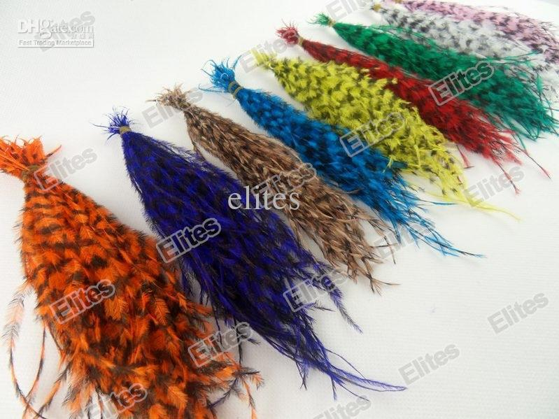 Queen Grizzly Real Feather Hair Extension (Good as Rooster Extensions) 100 Feathers + 100 beads Free Shipping