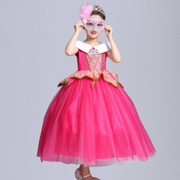 princess aurora dress NZ - Girls Sleeping Beauty Diamond Aurora Princess Dress Belle Party Stage Dress Halloween XMAS Costume Cosplay Gauze Clothing PX-D15