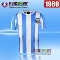 Wholesale Shirt Football Argentina - Retro Version tops 1986 World Cup Argentina national team home Soccer jerseys 10 Messi Maradona AAA+ Real Madird 04 05 Football Shirts