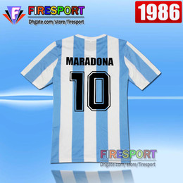 Wholesale Green Soccer Team Jersey - Retro Version tops 1986 World Cup Argentina national team home Soccer jerseys 10 Messi Maradona AAA+ Real Madird 04 05 Football Shirts