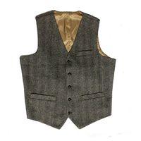 Wholesale Wedding Suit Grey Waistcoat - 2016 British style Grey Wool Herribone Tweed Groom Vests Vintage Custom Made Men's Suit Waistcoat Slim Fit Blazers Wedding Suits For Men