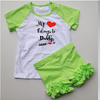 Wholesale Lime Green Spandex - lime green candy color sets baby girls ruffle pants legging raglan icing tops shirts set children outfits 95% cotton 5% spandex boutique