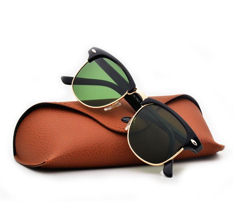Occhiali da Sole Semi Rimless per occhiali da sole da uomo di qualità eccellente Occhiali da sole con montatura in vetro verde G15 da uomo con astuccio e astuccio