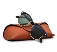 caso de óculos marrons venda por atacado-Design de marca 2019 venda Quente metade do frame óculos de sol das mulheres dos homens Clube Mestre óculos de Sol ao ar livre óculos de condução uv400 Eyewear whit brown case