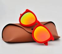 gafas de sol de terciopelo al por mayor-2019 Cat Eye Sunglasses Mujer Diseñador de la marca Erika Velvet Frame uv400 gafas de sol feminina con estuche y estuches marrones