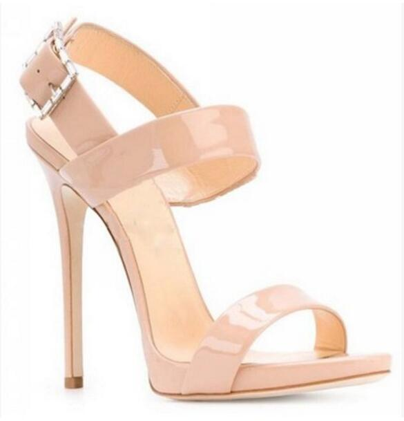 2017 Summer Women Nude Color Sandals Wedding Shoes Open Toe Celebrity Cuts Out Gladiator Thin Heel Ankle Strap Party Flat