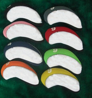 neopren-eisen-abdeckungen großhandel-Kundenspezifischer zweifarbiger Neopren-Golf-Eisenüberzug mit Nummer auf dem OEM-Golf-Headcover. Jedes Logo kann bedruckt werden