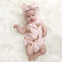 Wholesale summer girls ruffle rompers resale online - Baby INS kangaroo Hair band Rompers Kids Cotton Bow print romper sets suits Girls Ruffled Jumpsuit Toddler Infant clothes