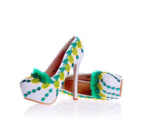 Mulheres brancas Saltos altos com abacaxi amarelo verde Decorados Casamento Bridal dama de honra Sapatos Prom Evening Night Club Party Super High Heels