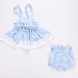 Wholesale Stripe Bowknot Dress - Baby outfits toddler kids stripe bowknot belt hollow out lace suspender dress + bows pp pants 2pcs sets 2017 kids princess clothes T1927
