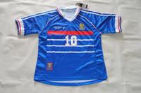 Wholesale Custom Rugby Shorts - Top Velvet Nameset!Retro jersey 1998 98 World cup Zidane  Henry  Djork Aeff shirt jersey Can Custom name