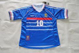 Wholesale Can Tops - Top Velvet Nameset!Retro jersey 1998 98 World cup Zidane  Henry  Djork Aeff shirt jersey Can Custom name