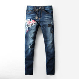 Wholesale Trousers Men Rap - Mens robins jeans eagle wing embroidered biker denim pants Male rap casual hole ripped punk jeans Slim straight trousers robin jeans for me