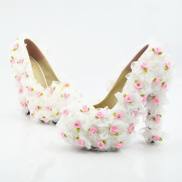 Wholesale Rose Flower Dating Pumps Sexy Prom Evening Shoes Cinderella Shoes Hand-made Bridal/Bridesmaid Shoes Nighclub Party High Heels