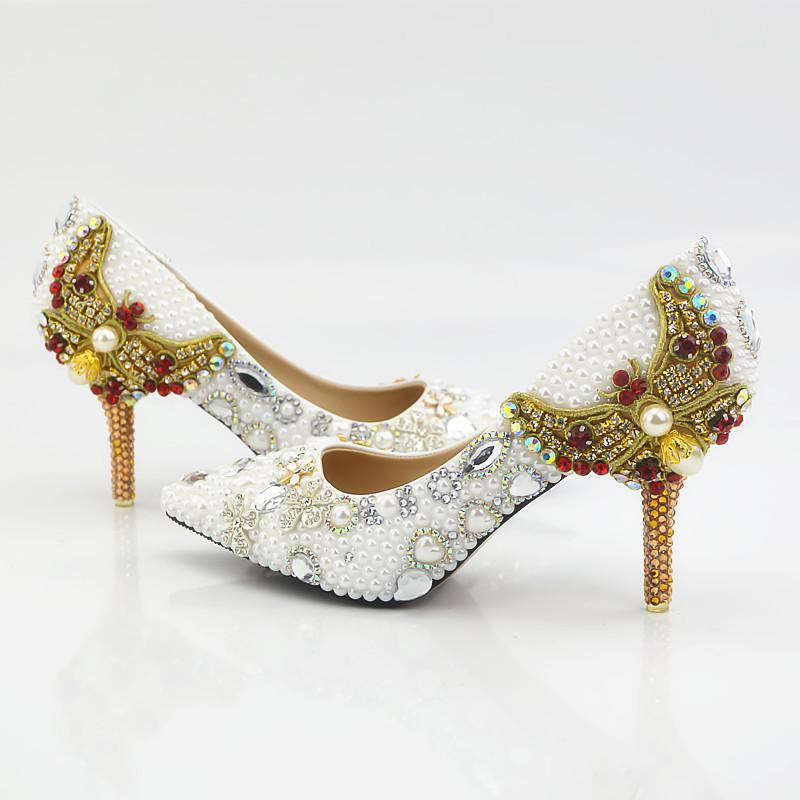 9cm Heeled Shoes Pointed Toe Pearls Rhinestones Ladies Pumps Prom Evening Cinderella Shoes Beaded Nighclub Party Shoes with Gold Butterfly