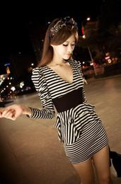 Wholesale Elegant Black Stripes Dress - New Womens Fashion Dresses Elegant V Neck Stripe Layers Cake Causel Mini Dress