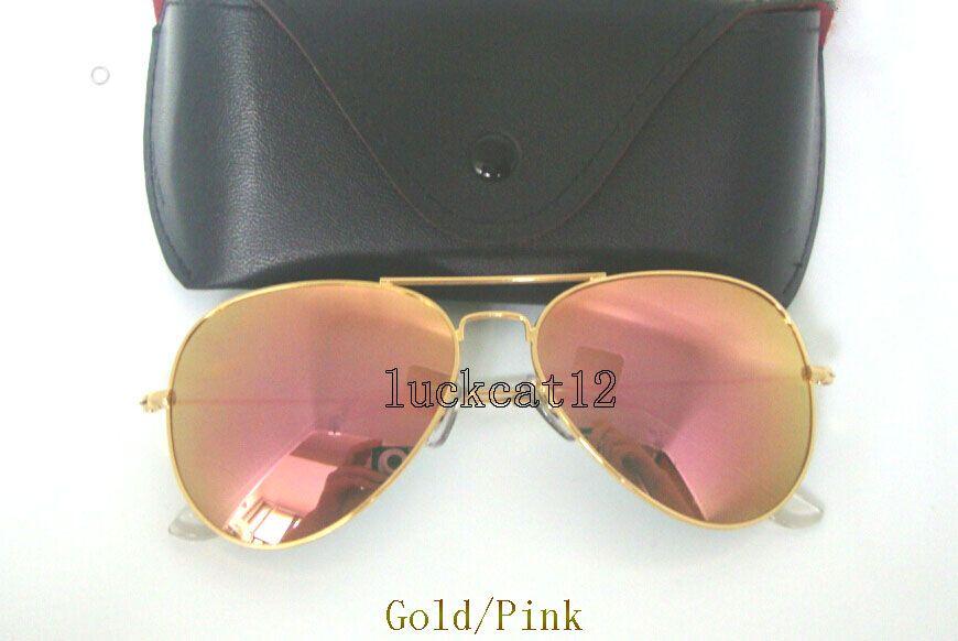 15c0391764 Compre 1 Piezas De Alta Calidad Para Hombre Gafas De Sol Para Mujer Piloto  Gafas De Sol Piloto Marco De Oro Colorido Flash Rosa Espejo De Lentes De  Vidrio ...