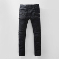 Wholesale Luxury Men Slim Straight Trousers - Luxury Brand Designer Mens Runway Biker jeans Slim Washed Robins Jeans Pairs Vaqueros Mens Denim Trousers High Quality Robin Jeans For Men