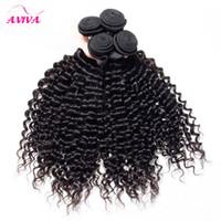 bakire kinky hair toptan satış-Brezilyalı Kıvırcık Virgin İnsan Saç Dokuma Paketler Perulu Malezya Hint Moğol Derin Kinky Kıvırcık İnsan Saç Uzantıları Doğal Renk