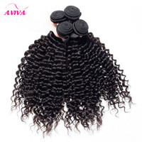 Brazilian Curly Virgin Human Hair Weave Bundles Peruvian Mal...
