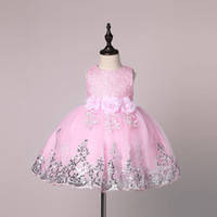 Wholesale girls new years dress - 2017 New Sequined Baby Girl Dress 7-24M 1 Years Baby Girls Birthday Dresses Vestido 3 Colors birthday party princess dress