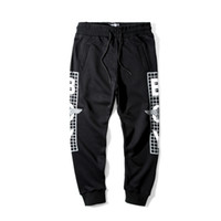 Wholesale London Pants - 1147 Eagles Hip Hop Casual Boy London Capris pants black Women Mens clothing Pullover paillette plaid printed British pants Lovers S-XXXL