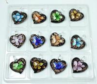 Wholesale Glass Jewelry Findings - European Beads,Murano Crystal Lampwork Pendant Heart-Shaped Necklace Glass Pendant Jewelry Finding