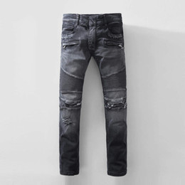 Wholesale European Runway - NWT BP Paris Stylish Mens Fashion Runway Ribbed Robins Biker Hole Slim Stretch Distressed Acid Washed robin jeans for men Plus size 28-42