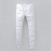 Wholesale White Stretch Jeans Mens - Mens Stylish Fashion Stretch Slim White Washed Robins Biker Jeans High Quality Denim pants Cool Runway robin Jeans for Men vaqueros hombres