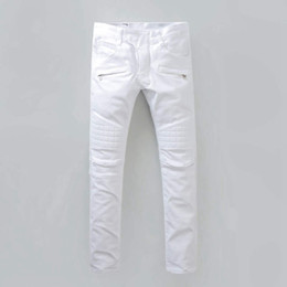 Wholesale Jeans Vaqueros Hombre - Mens Stylish Fashion Stretch Slim White Washed Robins Biker Jeans High Quality Denim pants Cool Runway robin Jeans for Men vaqueros hombres