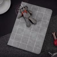 Wholesale Ipad Cute Bear Cases - Cute Bear Pendant PU Protective Leather Case Cover For iPad mini 1 2 3 4 ipad 2 3 4 5 6 Tablet Shell