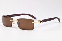 Wholesale Bamboo Wooden Shades - 2017 Retro Wood Sunglasses Men Bamboo Sunglasses Women Brand Design Sport Goggles Gold Mirror Sun Glasses Shades lunette oculo