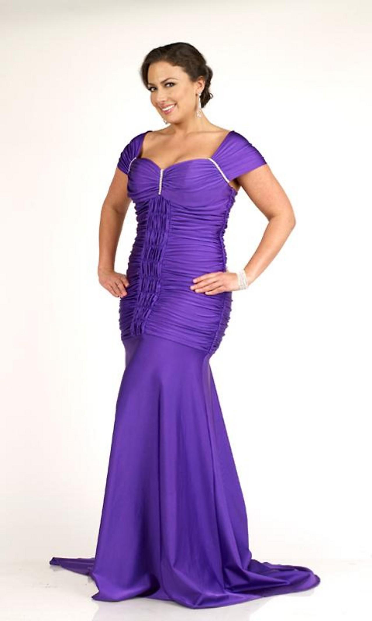 Cheap Plus Size Custom Made Cap Sleeves Pleated Floor Length Bust ...
