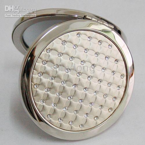 Silver Rhinestone Compact Mirror Makeup Pocket Mirror