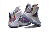 Wholesale Rainbow Plush - Wholesales 2015 New LeBrn XII Men Basketball Shoes Authentic What The Limited Sneakers High Quality Retro Rainbow LBJ 12 Sports