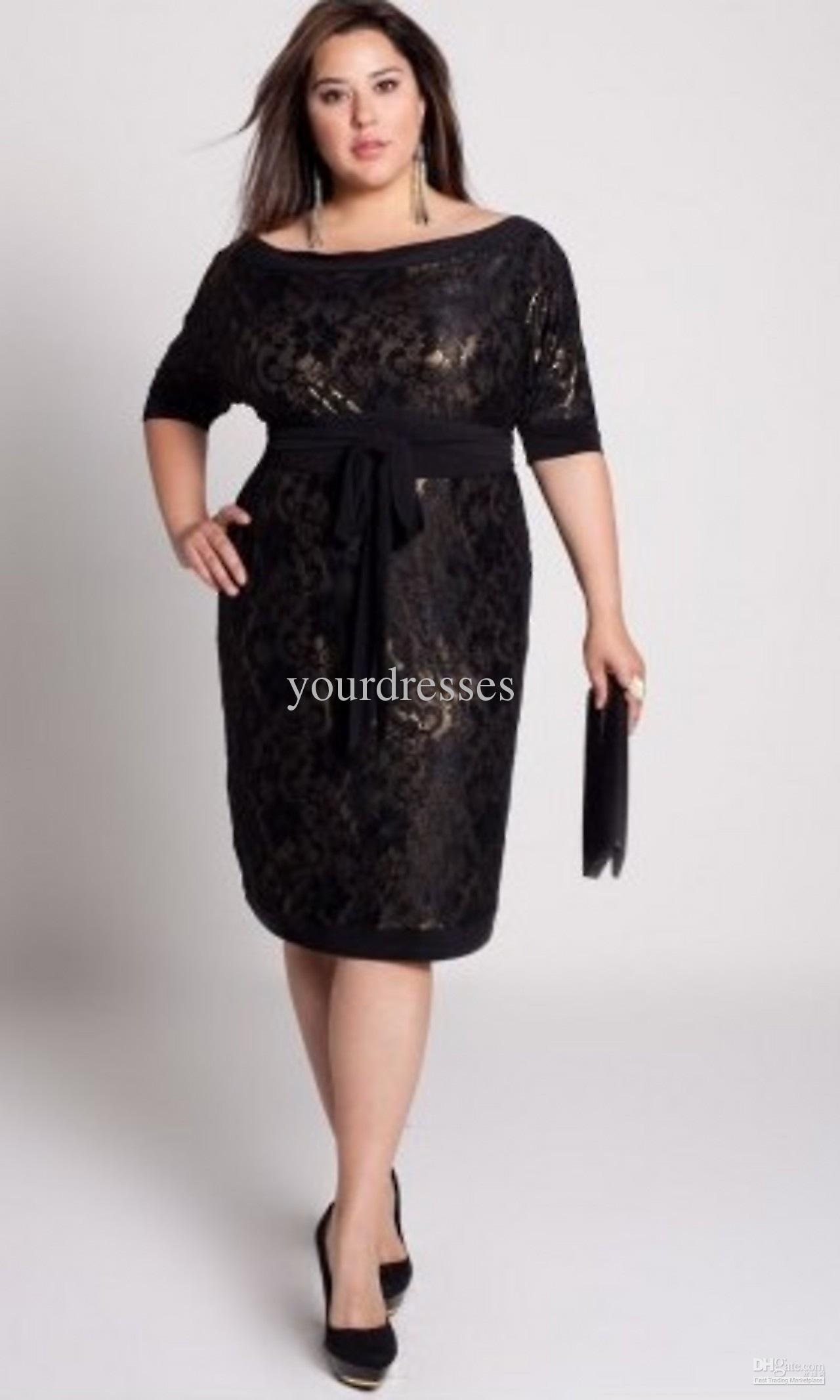 2011new arrival plus size custom made black lace knee length long