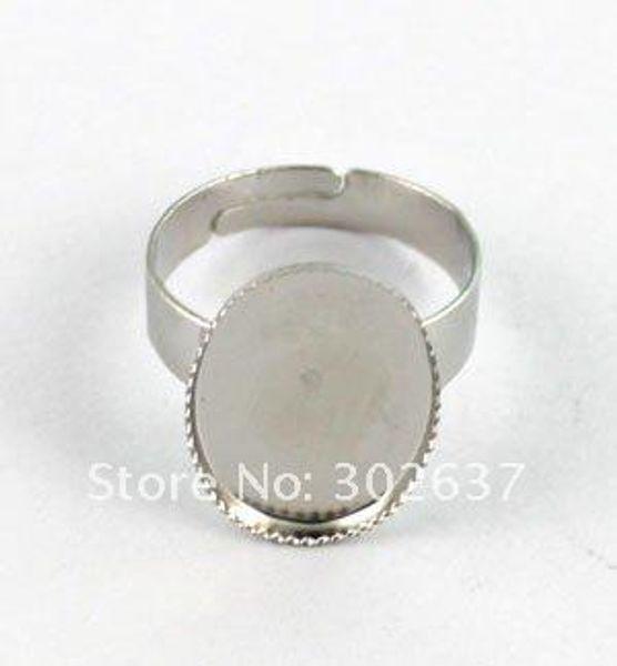 120PCS Adjustable Ring Base Blank Glue-on 18X13mm OVAL #20556