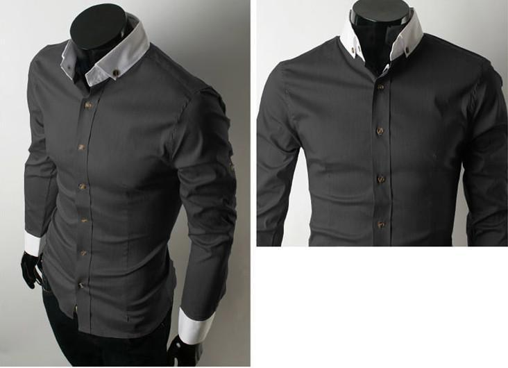 2017 Mens Dress Shirts Long Sleeve Shirt Cotton Black From Dalishi ...