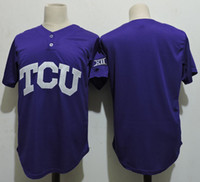 Wholesale Purple Frogs - Men's custom NCAA TCU Horned Frogs COLLEGE Baseball jersey Stitched Purple Super Frog Personalized jersey S-3XL